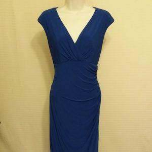 LAUREN CONRAD BLUE V NECK DRESS - BEAUTIFUL! SZ 8